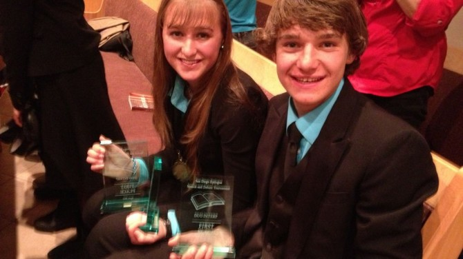 My kids won 1st place duo interpretation, a presentation of The Princess Bride, in San Diego over the weekend.