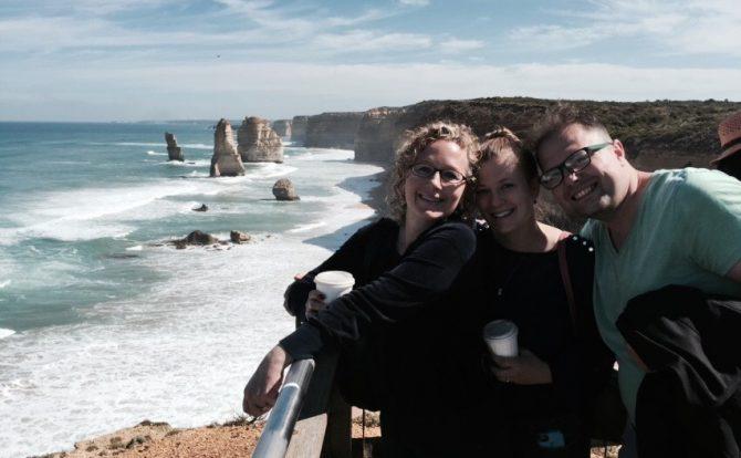 The Twelve Apostles in the background, Victoria, Australia.
