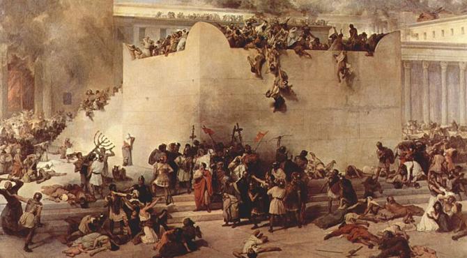 Depiction of the Fall of Jerusalem by Francesco Hayez.