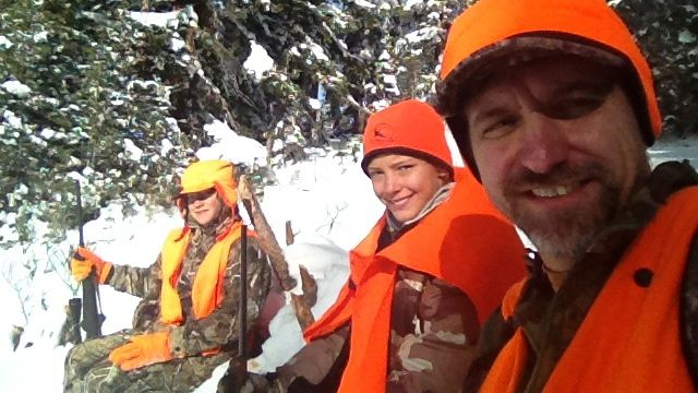 Hunting with two of my kids in Colorado. Noah (then 13) harvested a nice cow that year.