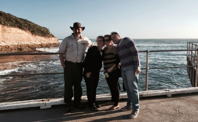 The four of us at Port Campbell, Victoria, Australia.