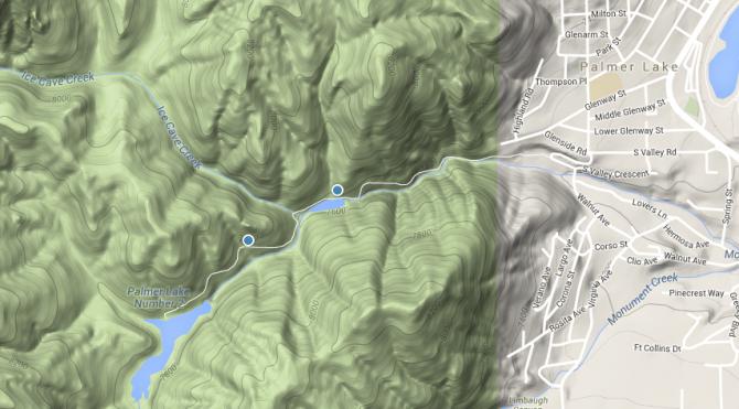 Palmer Lake Reservors is a brisk walk to beautiful mountain scenery.