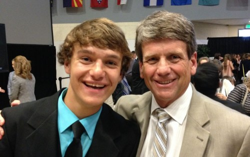 My son, Micah, with Michael Farris, founder of homeschool speech and debate and the HSLDA.